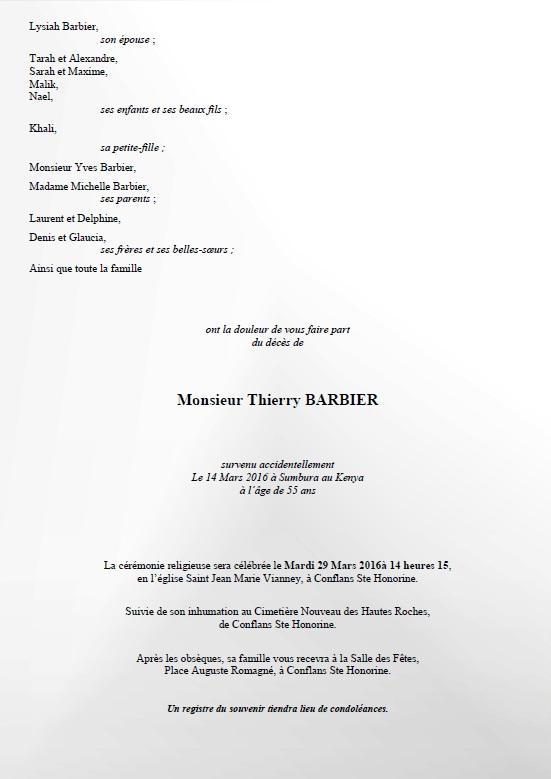 Faire Part Obsèques Thierry Barbier